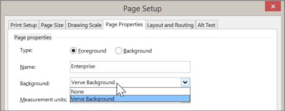צילום מסך של מאפייני דף ' הגדרת עמוד ' > ' עם רקע רב שנבחר מתוך הרשימה הנפתחת ' רקע '