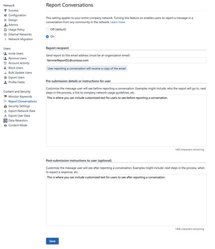 לוח ניהול להפעלת דיווח שיחות