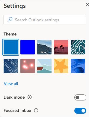 צילום מסך המציג את החלונית ' הגדרות ' עם האפשרות ' תיבת דואר נכנס ממוקדת ' שנבחרה להפעלה.