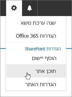 תפריט ' הגדרות ' עם ' תוכן האתר ' מסומן