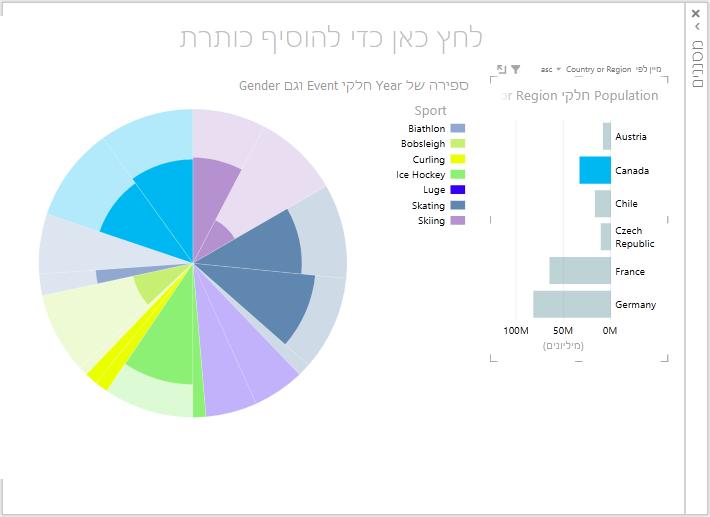 נתונים דינאמיים בפריטים חזותיים של תרשים עוגה של power view