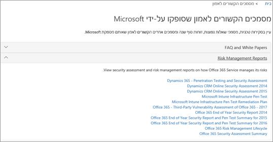 הצגת הדף 'הבטחת שירות': תן אמון במסמכים שסופקו על-ידי Microsoft