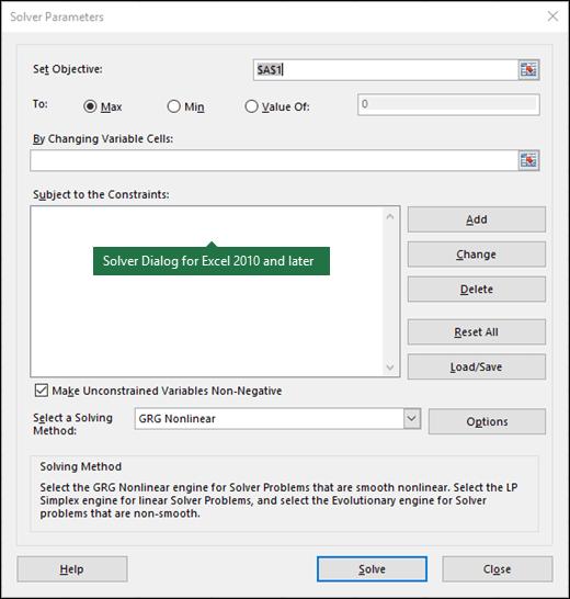 תמונה של תיבת הדו-שיח של Excel 2010 + Solver
