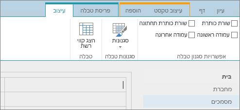 צילום מסך של רצועת הכלים של SharePoint Online. השתמש בכרטיסיה 'עיצוב' כדי לבחור תיבות סימון עבור שורת כותרת עליונה, שורת כותרת תחתונה, עמודה ראשונה ועמודה אחרונה בטבלה, וכן כדי לבחור מתוך סגנונות טבלה ולציין אם הטבלה משתמשת בקווי רשת.