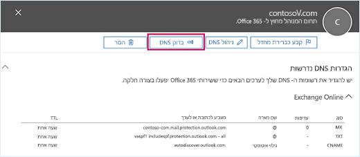 צילום מסך מציג את הדף 'הגדרות DNS נדרשות' והמוקד נמצא על לחצן 'בדוק DNS'.