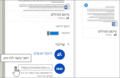 צילום מסך של הפיכת קישור ללא זמין בחלונית 'פרטים' כדי להפסיק לשתף פריט