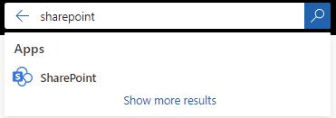 השתמש בתיבת החיפוש כדי לחפש את SharePoint האפליקציה.