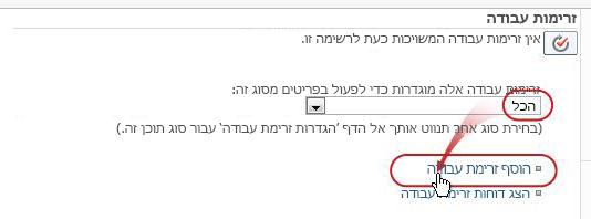הוספת דף זרימת עבודה עם האפשרויות 'כל סוגי התוכן' ו'הוספת זרימת עבודה' מוצגות