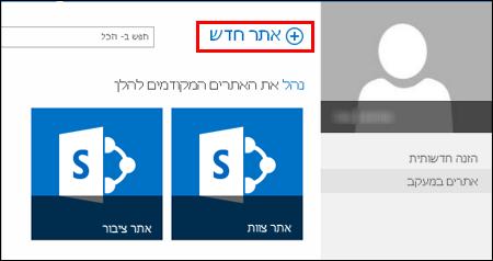 הדף 'אתרים' ב- SharePoint Online, המציג את לחצן 'אתר חדש'