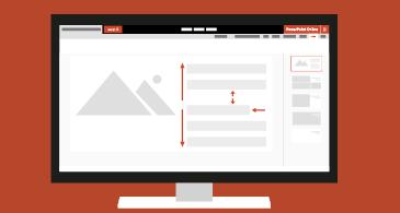 מחשב המציג מצגת שמכילה אפשרויות שונות של עיצוב פיסקה