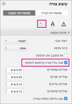 שינוי גודל טקסט הצורה מסומנת בחלונית עיצוב צורה.