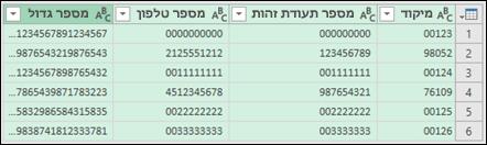 קבלת ושינוי צורה > המר נתונים לטקסט
