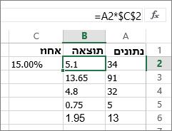 מספרים מרובים לפי אחוז