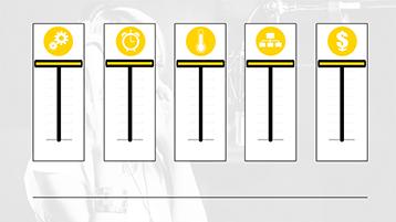 גרפיקות של מחוונים עם סמלים בתבנית דוגמת גרפיקה ב- PowerPoint