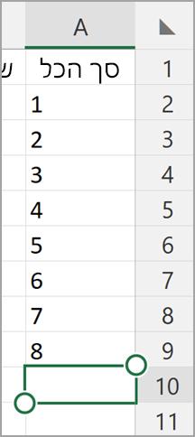 סכום אוטומטי של Windows tablet Excel