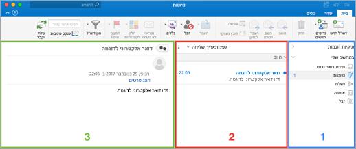 דיאגרמה של הטקסט אפשרויות גודל תצוגה ב- Outlook