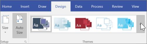 צילום מסך של אפשרויות הסרגל הכלים ' עיצוב ' > ערכות נושא '