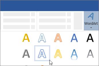 הוספת WordArt מרצועת הכלים
