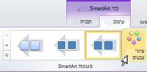 שנה את הצבע של פריט הגרפיקה של SmartArt.