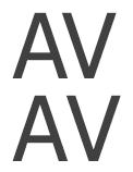 השוואה בין תווים עם שינוי לובן אות (למעלה) ותווים עם שינוי לובן אות ביטול.
