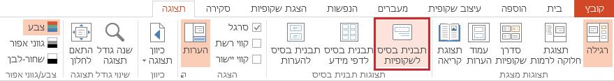 האפשרות 'תבנית בסיס לשקופיות' בכרטיסיה 'תצוגה'.