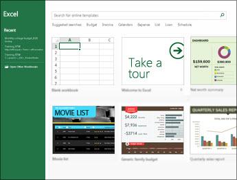 כמה מהתבניות הזמינות ב- Excel