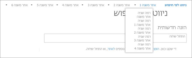 צילום מסך המציג אתרים ואתרי משנה