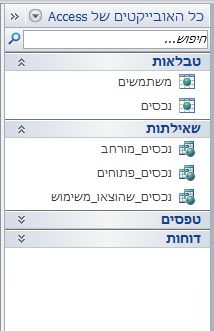 חלונית הניווט מציגה את הקבוצה 'כל האובייקטים של Access' בקטגוריה 'סוג אובייקט'