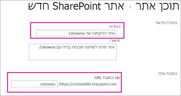 בתיבה 'כותרת' הקלד שם עבור אתר המשנה, בתיבת כתובת ה- URL הזן את שם הלקוח כדי להוסיף אותו לכתובת ה- URL עבור האתר.