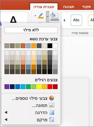 צילום מסך שמציג את האפשרויות הזמינות בתפריט 'מילוי צורה', כולל 'ללא מילוי', 'צבעי ערכת נושא', 'צבעים רגילים', 'צבעי מילוי נוספים', 'תמונה', 'מילוי הדרגתי' ו'מרקם'.