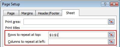 אפשרויות כותרות להדפסה מסומנות בתיבת הדו-שיח 'הגדרת עמוד'