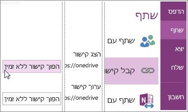 צילום מסך המתאר כיצד להפוך קישור ללא זמין ב- OneNote 2016.