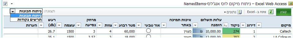 סרגל הכלים של ה- Web Part של Excel Web Access מציג את הבחירה הנפתחת 'הצג' של פריטים בעלי שם