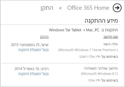 הדף 'התקנה' המציג את שם המחשב ואת שם האדם שהתקין את Office.