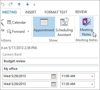 כתיבת הערות בפגישת Outlook