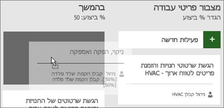 צילום מסך של הזזת פעילות מעמודה אחת של לוח פעילויות לעמודה שניה.