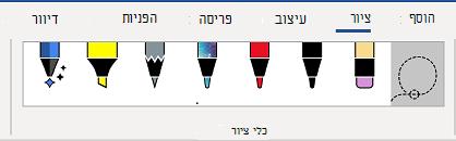 הכרטיסיה ' כלי ציור ' ברצועת הכלים של Word.