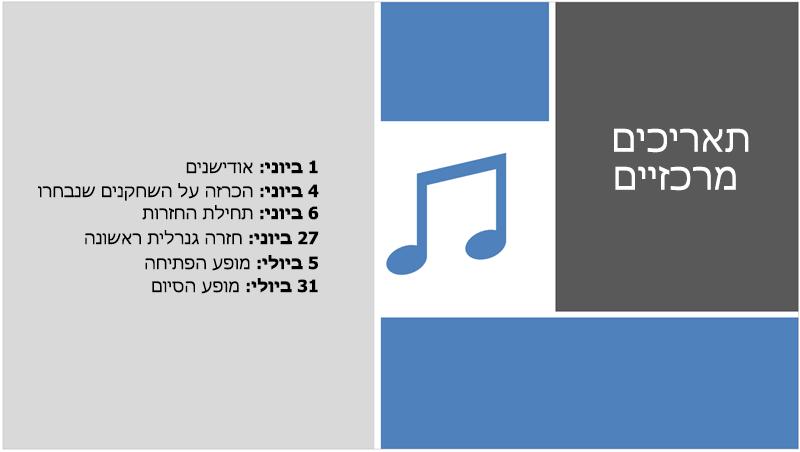 שקופית לדוגמה עם ציר זמן של טקסט שמעצב PowerPoint מוסיף איור וקשר עיצוב אליו.