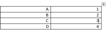 טבלה ב- Word