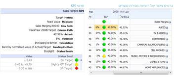 דוח פרטי KPI מספק מידע נוסף אודות ערכים בכרטיס ניקוד של PerformancePoint