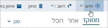 צילום מסך של הכתיבה לחצן הודעה חדשה