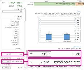 הדוח 'מבט כולל על הפרוייקט' עם החלונית 'נתוני תרשים' פתוחה
