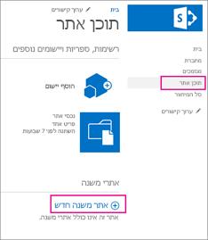 כדי להוסיף אתר משנה חדש, בחר באפשרות 'תוכן אתר', לאחר מכן בחר 'אתר משנה חדש'.