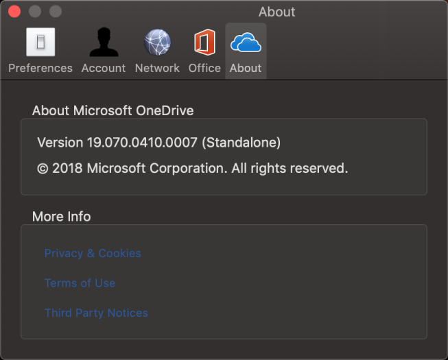 ממשק המשתמש של 'אודות' ב- OneDrive עבור Mac