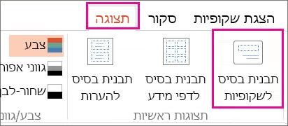 בכרטיסיה 'תצוגה', לחץ על 'תבנית בסיס לשקופיות'