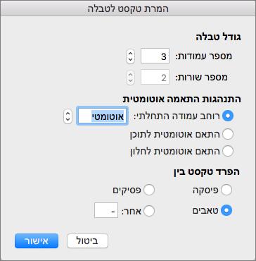 אפשרויות עבור המרת טקסט לטבלה