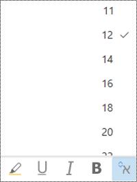 תפריט ' גודל גופן ' פתוח ב-Outlook באינטרנט.