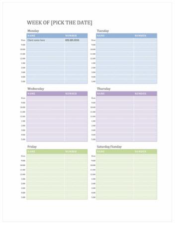 לוח שנה של פגישות שבועיות (Word)