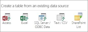 בחירות מקור הנתונים: Access; Excel; SQL Server/מקור נתונים של ODBC; טקסט/CSV; רשימת SharePoint.