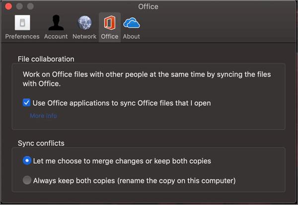 הכרטיסיה office ב-Microsoft OneDrive עם האפשרות ' סנכרן את office ' נבחרה